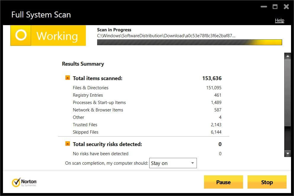 Norton Antivirus Full System Scan.