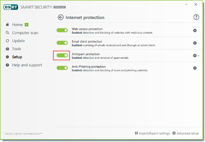 ESET Antivirus Antispam Feature.