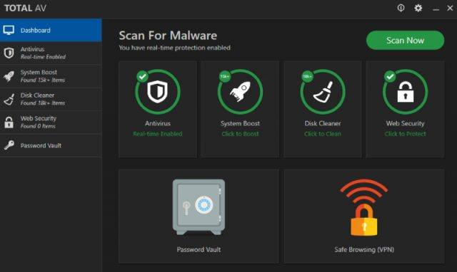 TotalAV Total Security Malware Scan.
