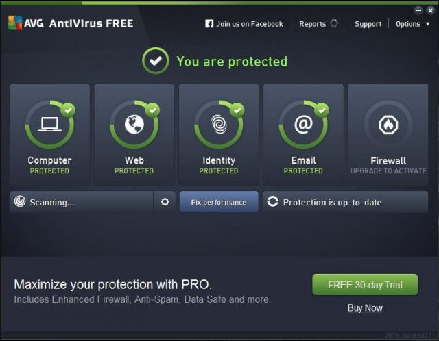 AVG Antivirus Free: User Interface.
