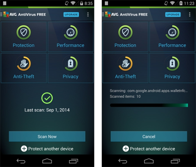 AVG Antivirus for Android.