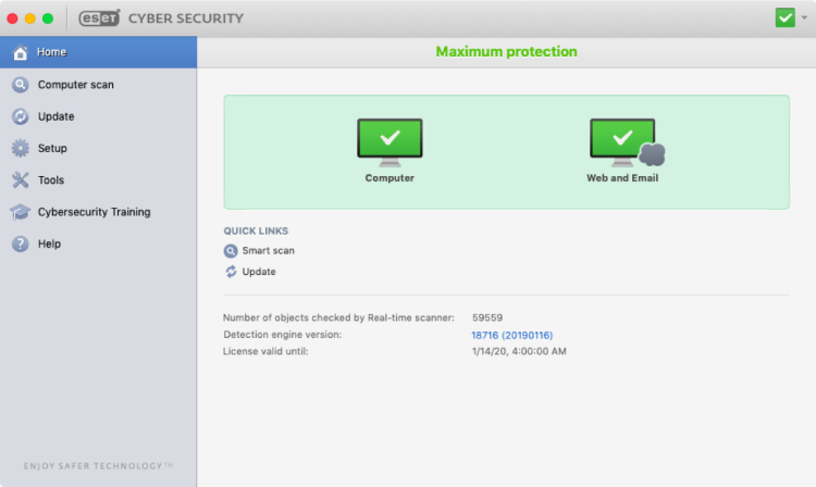 Eset Cyber Security for Mac.