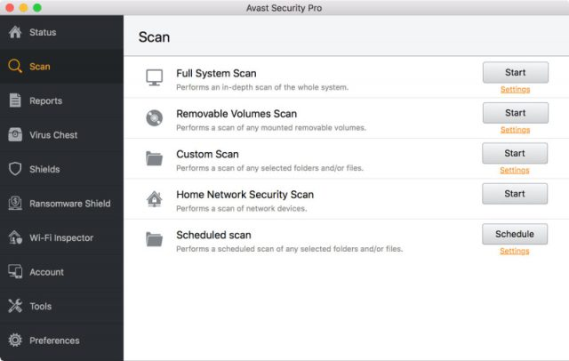 Avast Antivirus Security Pro for Mac - Scan Interface.