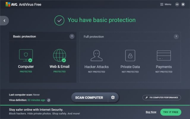 AVG Antivirus Free: Real-Time Protection.
