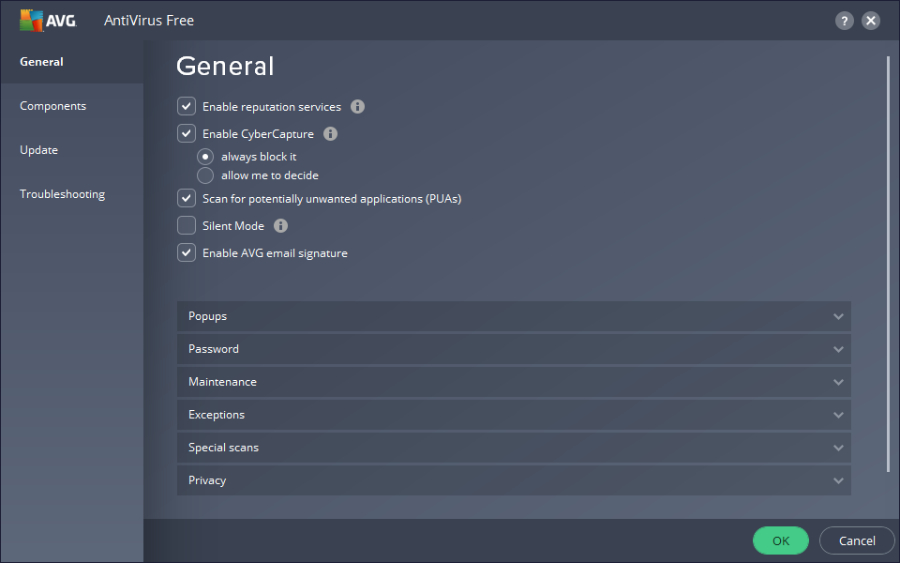 AVG Antivirus: User Interface.