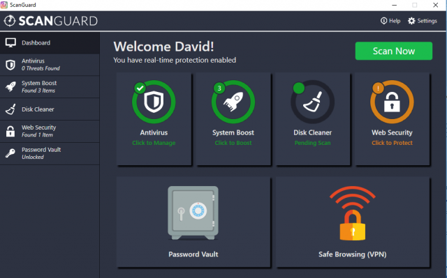 ScanGuard Interface - Dashboard of ScanGuard antivirus.