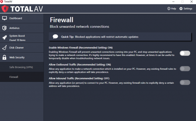 TotalAV Firewall | Total AV Review 2019