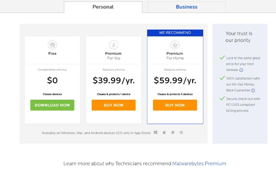 Malwarebytes: antivirus, prices, plans