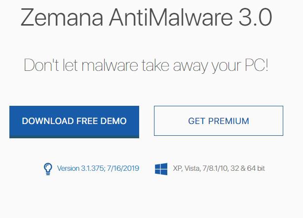 Zemana: antimalware, free version
