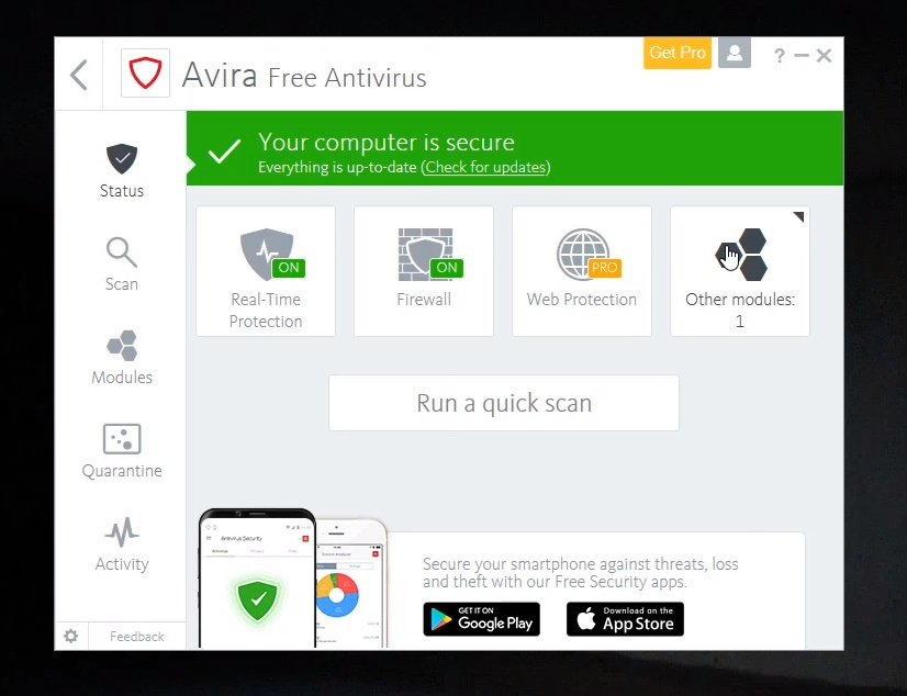 Avira: antivirus interface