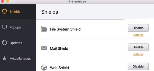 Avast: mac, shields