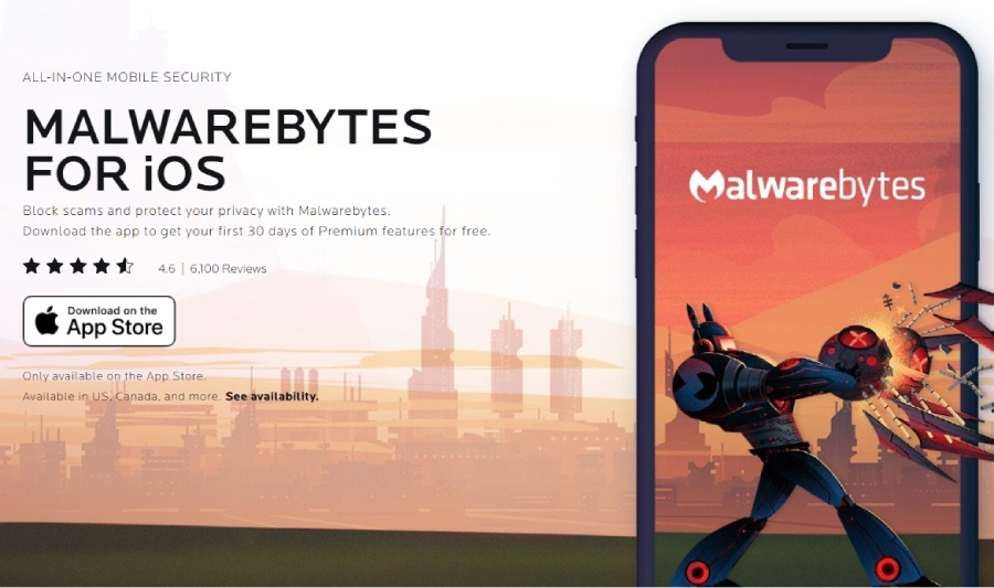 Malwarebytes: antivirus, iOS, application