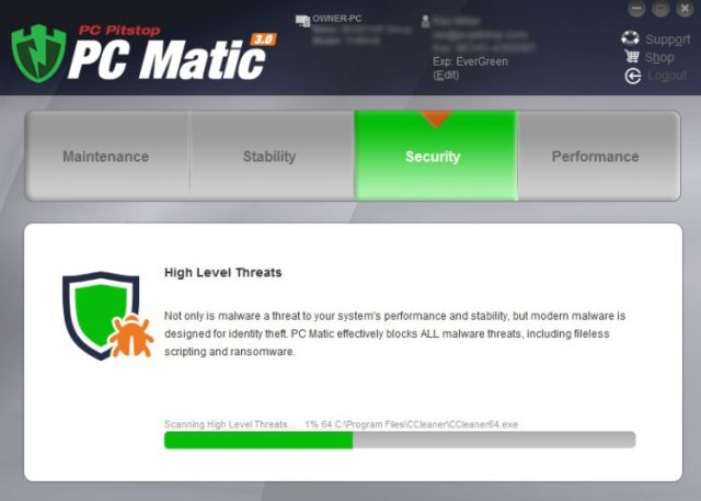 PC Matic Security scanning process.
