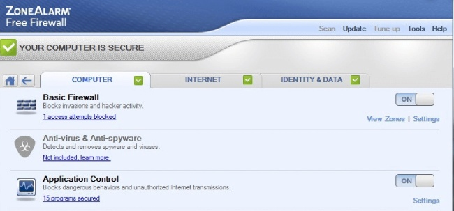zonealarm review firewall, antispyware, anti-virus
