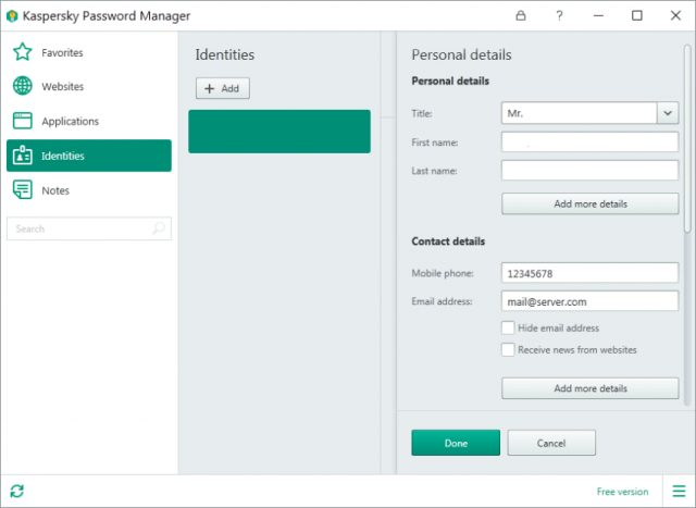 Kaspersky Password Manager: interface