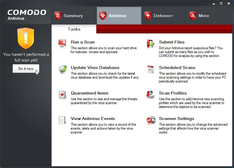 comodo antivirus screenshot
