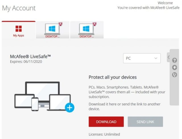 Interface do McAfee LiveSafe