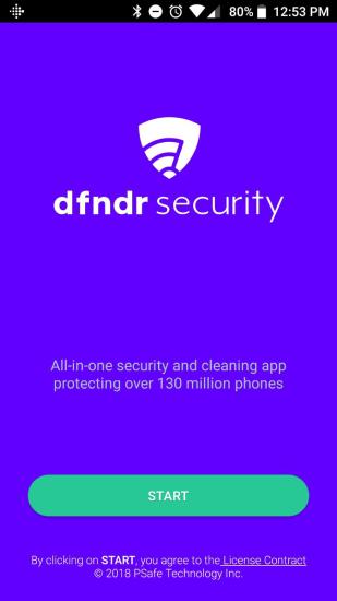 Dfndr antivirus, main screen