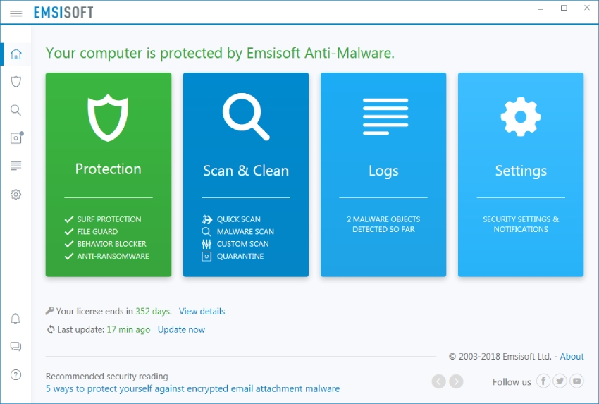 Emsisoft antialware home, emsisoft antimalware review