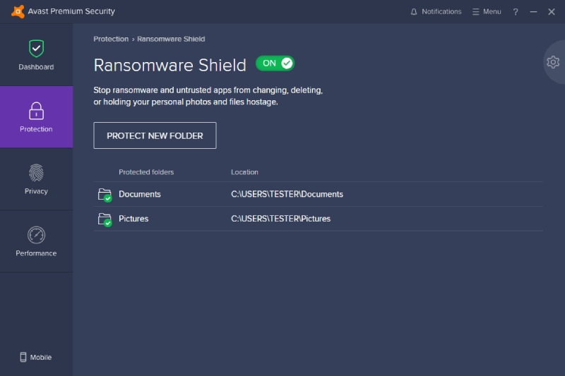 Avast Ransomware Shield Dashboard.