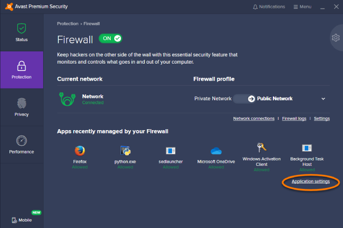 best free firewall software, firewall best practices, firewall settings, network firewall, software firewall, firewall options, Avast firewall review, pros and cons, Avast firewall interface