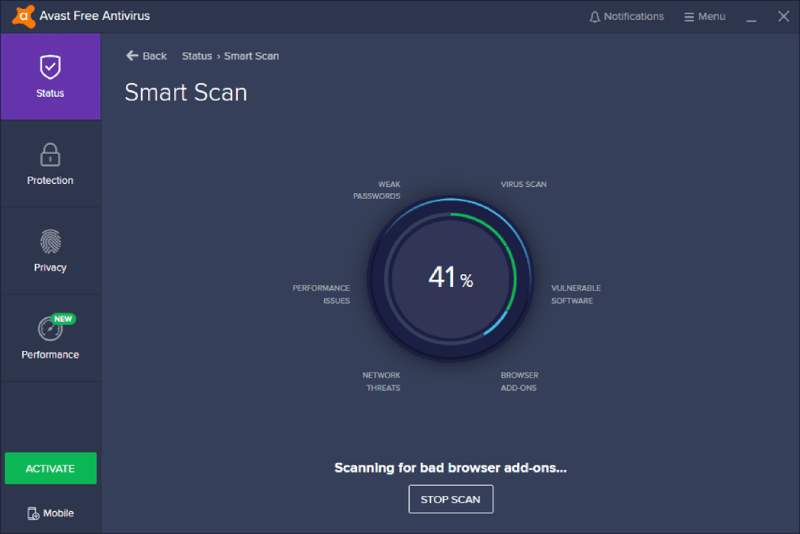 Avast Free Smart Scan.