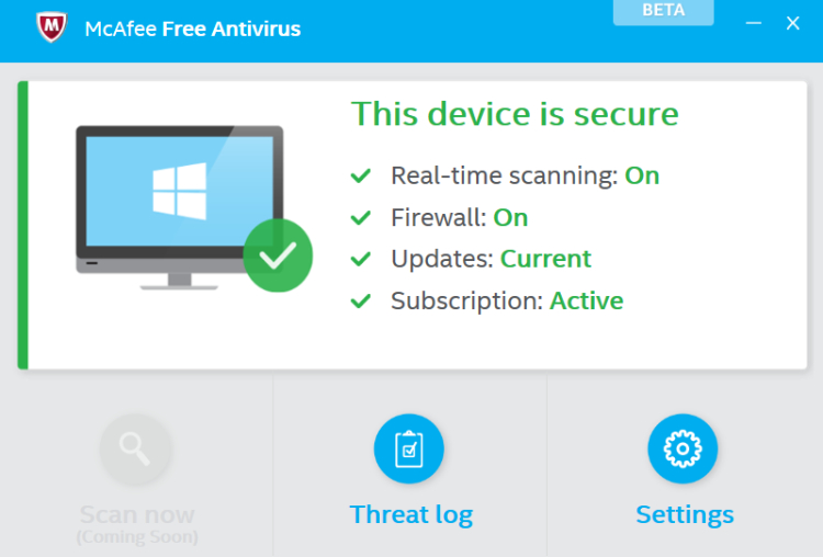 McAfee Free Antivirus.