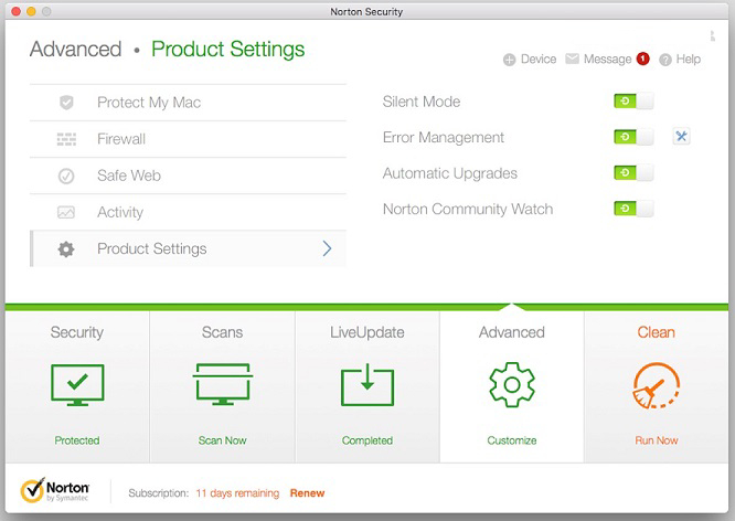 Norton Antivirus for Mac protection.