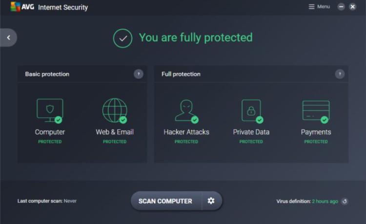 AVG Antivirus Dashboard.