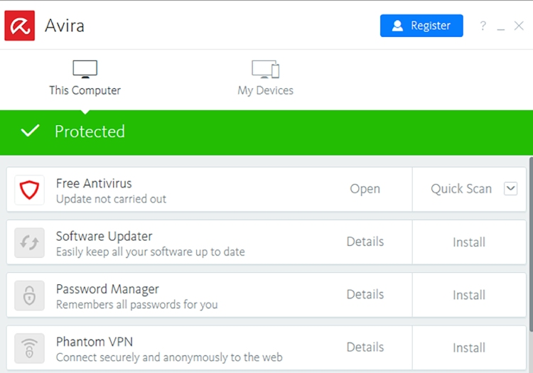 Avira Antivirus Dashboard.