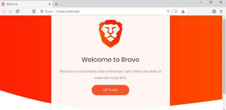 Brave Browser, amin page.