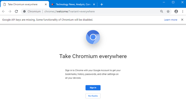 Chromium Web Browser, main page.