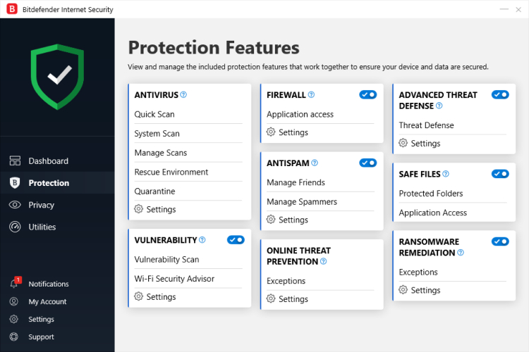 Bitdefender Antivirus Protection Features.