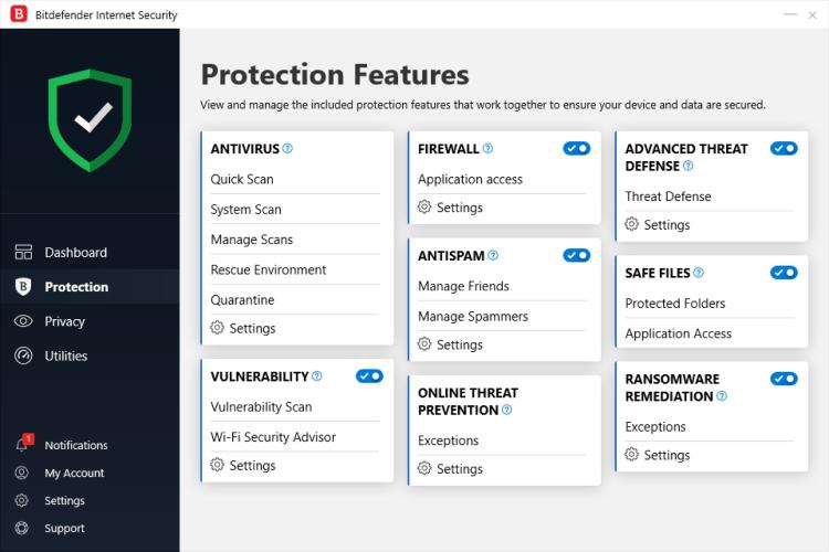 Bitdefender Antivirus Protection Features.