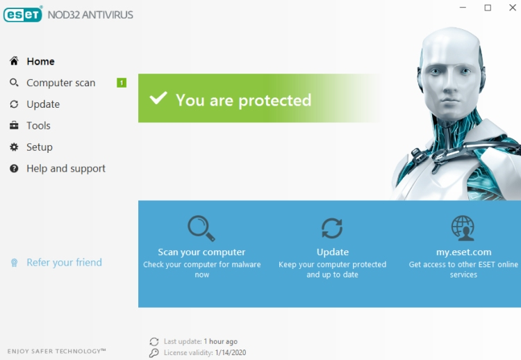 ESET NOD32 Antivirus Dashboard.