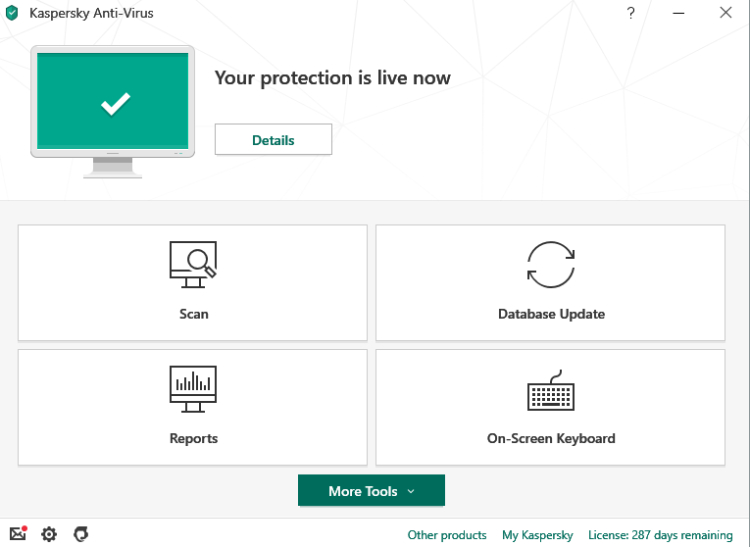 Kaspersky Anti-Virus, Dashboard.